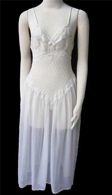 Romantic Vtg Rose Nightgown S Dotted Swiss Lace Low Back Sheer Full Sweep Gown
