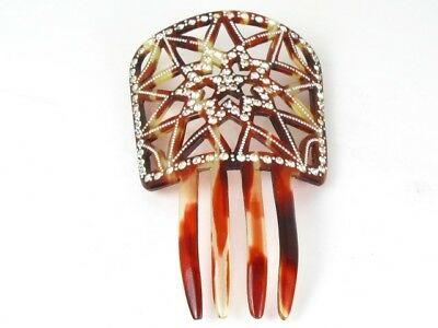 Vintage Faux Tortoise Shell And Rhinestone Hair Comb