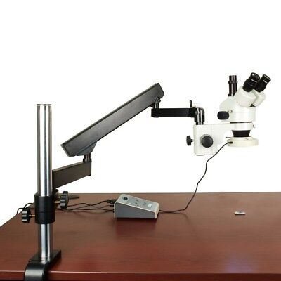 7-45 Stereo Trinocular Microscope+Articulating Arm Stand+LED 8-Section Ring Lite