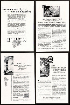 1929 BUICK Lot of 4 Vintage Antique Print Advertisement AD - Perfect for history