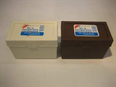 Sterling Plastics Vintage Recipe Index Card File Box NEW #533 White & Brown 3X5
