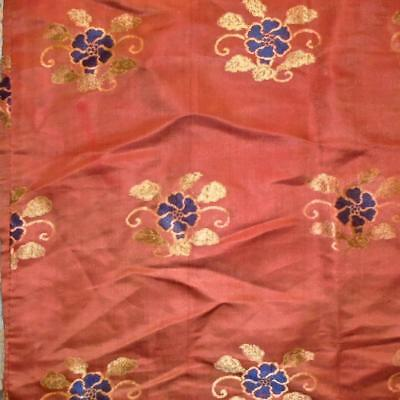 NEW STOCK: BEAUTIFUL ANTIQUE 19th CHINESE PURE SILK BROCADE, FLOWERS 297