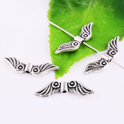 10pcs Double Wings Charm Bead Silver Loose Metal Jewelry Findings 23x7mm