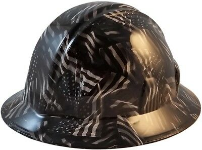 Black and Gray USA Flags Hydro Dipped FULL BRIM Hard Hat w/Ratchet Suspension