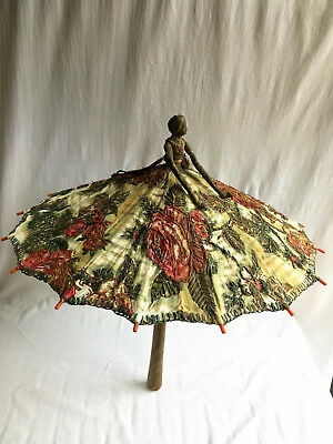 Rare Antique French Cloth Doll Parasol Embroidered Early 20thC