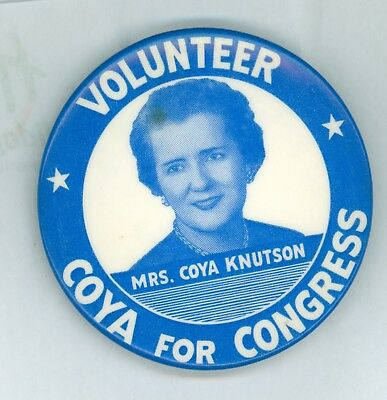 1954 Vintage Minnesota Congress Coya Knutson Political Campaign Pinback Button