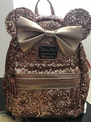 Disney Parks Minnie Mouse Rose Gold Ears Sequined Loungefly Backpack New