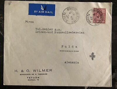 1937 Tetuan Morocco Agencies Airmail Commercial cover To Fulda Germany