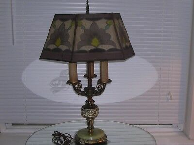 Art Deco Table Lamp Onyx & Metal Base 6 Sided Painted Screen Shade All Original