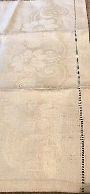 Antique Ivory Floral Linen Damask Hand Towel Made In Germany