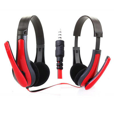 USB 3.5mm Surround Stereo Game Headset Headband Headphone With Mic For PC Red