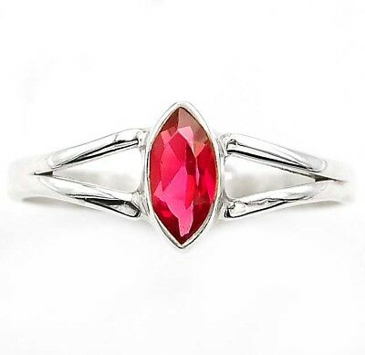 Rubellite Tourmaline 925 Solid Genuine Sterling Silver Ring Jewelry Sz 9