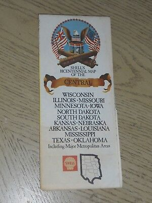 1975 Shell Oil Gas Central United States Bicentennial 1976 Highway Road Map USA