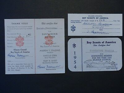 3 Diff 1950's Sustaining Member Donation Receipts Kilauea Council BSA Boy Scout