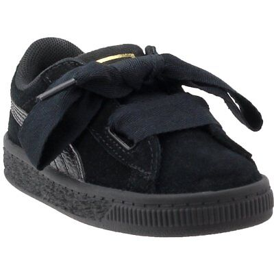 6159726944b295 Puma Suede Heart Snake Infant Sneakers- Black- Girls