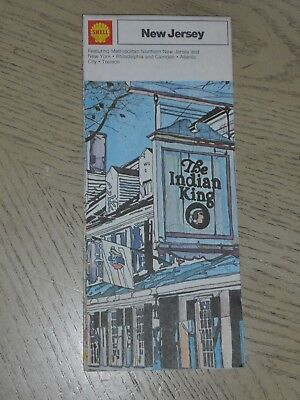 1973 Shell Oil Gas New Jersey State Highway Road Map Atlantic City Newark York