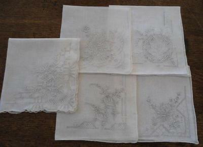 Vintage Lot 5 Pure Linen Hankies Silver Gray Embroidery Hand Rolled