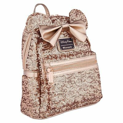Disney Parks Exclusive Loungefly Minnie Rose Gold Ears Sequined Backpack New