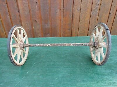 "Antique 2 Wooden 9+"" Spoke Wheels with Rubber and Axles"