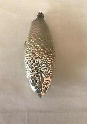 Vintage/Antique Christmas Ornament Mercury Glass Large Hand Blown Silver Fish