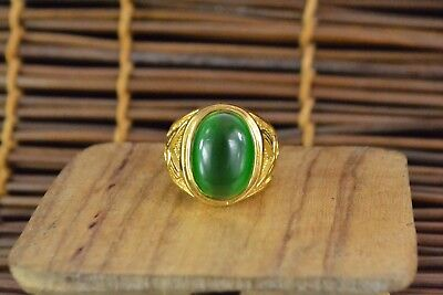 Rare Antique Collectible Chinese Green Cat's Eye Handwork Noble Woman Ring