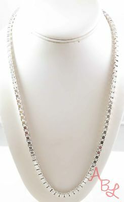 """Sterling Silver Vintage 925 Large Thick Box Chain Necklace 24"""" (64.3g) - 742762"""