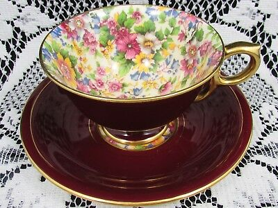 Royal Winton Cheadle Best Gold Series Chintz Burgundy Tea Cup And Saucer