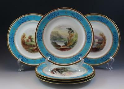 Antique 19C English Hand Painted Cabinet Plates w/ Landscapes & Gold Enameling