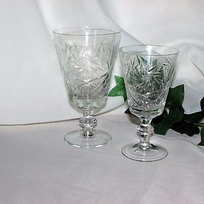 2 Different Pinwheel Crystal Goblets Red & White Wine Glasses Tall Buzz Star