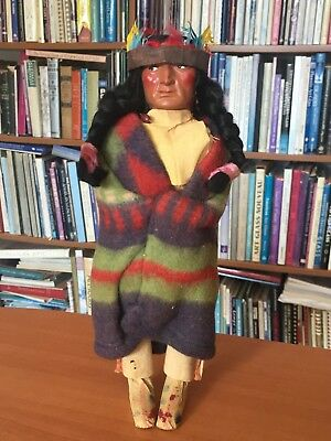 """Vintage Bully Good SKOOKUM Native Indian Character Doll Chief 11.5"""" AS IS"""