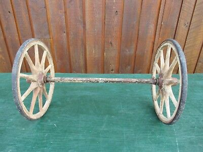 "Antique 2 Wooden 12"" Spoke Wheels with Rubber and Axles"