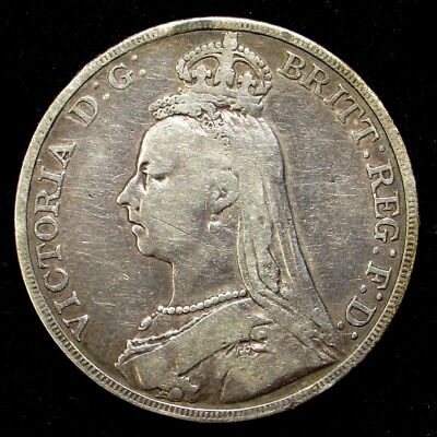 1889 Great Britain Crown of Victoria - VF Detail - KM#765 Sterling Silver