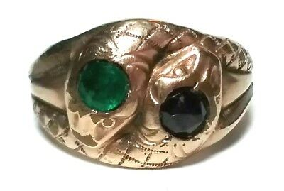 Vintage Antique Victorian Gold Tone Double Snake Heads Green Red Glass Ring