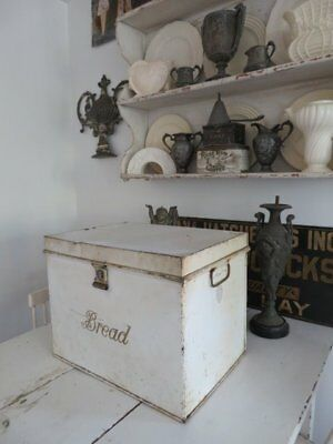 THE BEST Old Vintage METAL BREAD BOX White Gold Letters Large Size