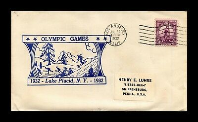 Dr Jim Stamps Us Olympic Games Lake Placid Cover Los Angeles California 1932