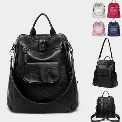 Convertible Leather Backpack Rucksack Daypack Shoulder Bag Purse Travel New Y1