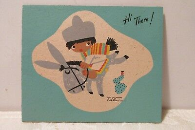 Vintage Greeting Card Walt Disney Prods, 1945 by Mary Blair Child on Donkey Used