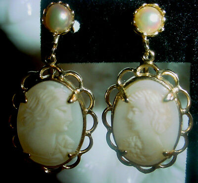 Vintage Genuine Carved Shell CAMEO EARRINGS w GENUINE PEARLS and Screw On Backs