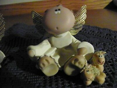 Kirks Angel Cheeks Critters Figurine With Two Baby Lambs Collectible