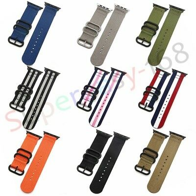 Sports Woven Nylon Canvas Farbric Band Strap For Apple Watch 38/42mm Replacement