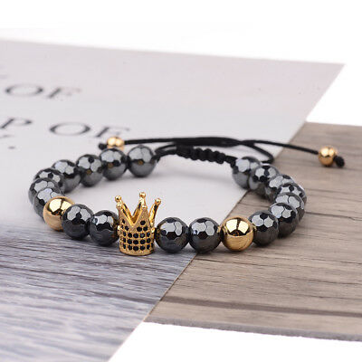 Women Men's CZ King Crown Natural Stone Adjustable Bracelets Charm Jewelry Gift