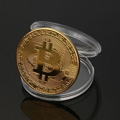 Gold Plated Bitcoin Commemorative Round Collector Coin BIT Coins Currency Toy
