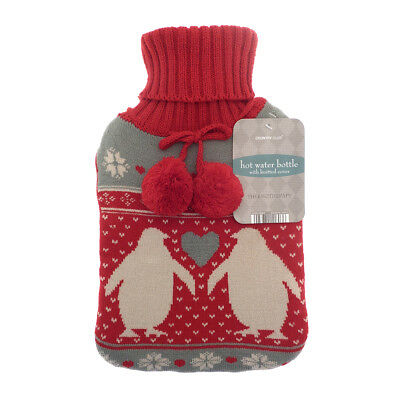 Country Club Trendy Knit Hot Water Bottle, Penguin Winter Cosy Fun Warm Cover