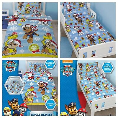 Kids Paw Patrol Christmas Duvet Quilt Cover Bed Sets - Junior Bed & Single Sizes