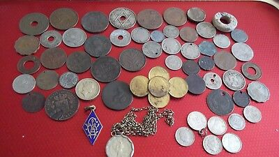 JOB LOT OF OLD COINS/BROOCH/BADGES ETC WITH SILVER  99p 37 VT