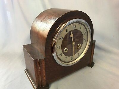 1017  Vintage Oak English 8 Day Chiming Mantel Piece Clock