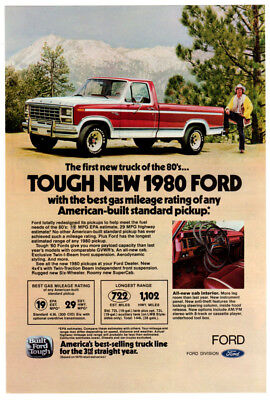 1980 FORD Pickup Vintage Original Print AD Red & White tough new truck mountain