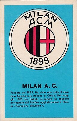 Calcio/Football Cartolina MILAN Ed. Nannina anni '60 originale