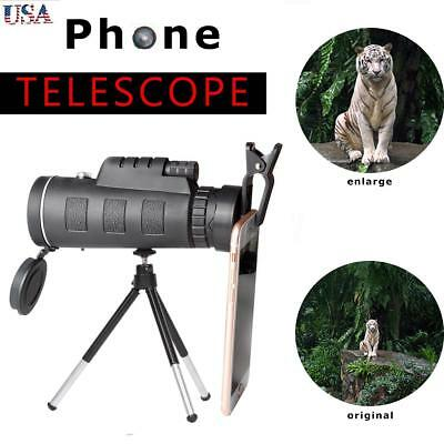 40X60 Zoom Optical HD Lens Monocular Telescope+ Tripod+ Clip For Cell Phone USA
