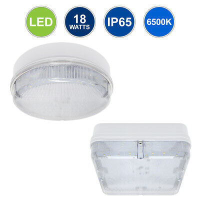 18W LED Round or Square Surface Mount FLUSHLIGHT BULKHEAD Ceiling Light IP65